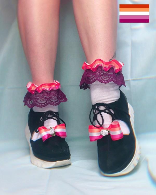 lesbian-flag-pride-frilly-ankle-socks-orange-purple-white