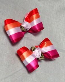 lesbian-pride-flag-orange-pink-white-cute-hair-bow-alligator-clip