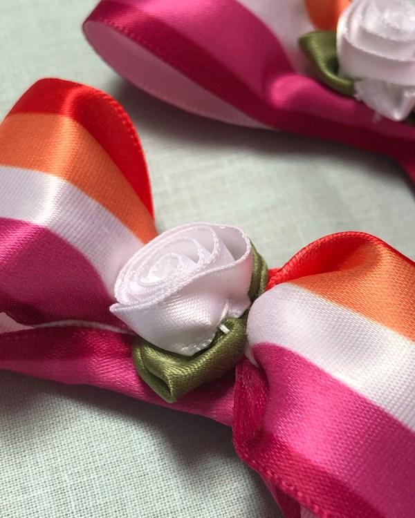 lesbian-pride-flag-orange-pink-white-hair-bow-alligator-clip