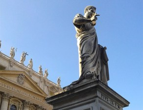 Statue of St. Peter in St. Peter's Square at the Vatican (Wikipedia)