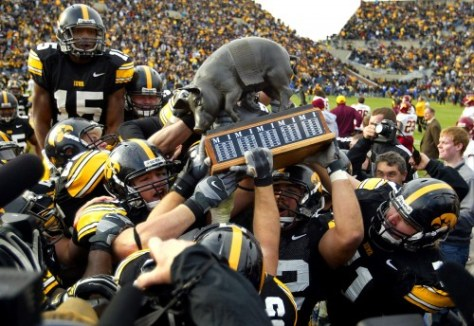 The Iowa Hawkeyes have made progress in their eternal quest to win some kind of pig trophy.