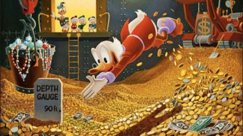 Scooge McDuck Swimming In Money