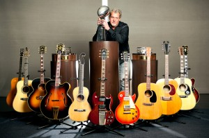 "Nothing says ""average joe"" like posing in front of a dozen custom made guitars and a Super Bowl trophy."