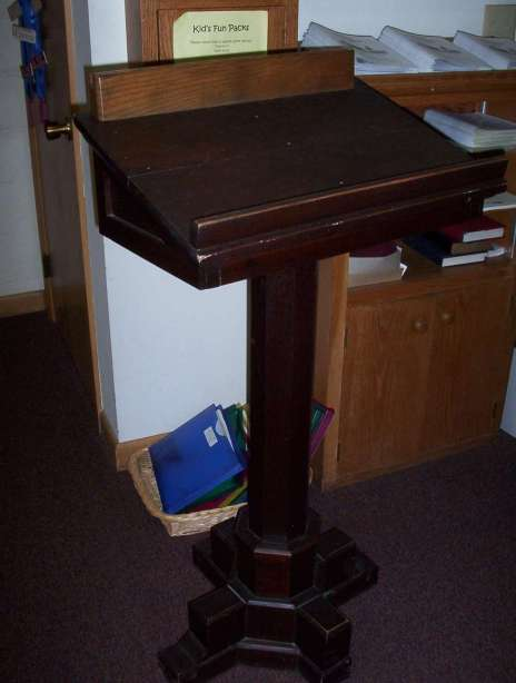 An old wooden podium from an investigation at a church. This podium seemed to give off its own electromagnetic field.