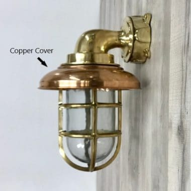 Extra Large Cast Brass Bulkhead Light With Copper Cover