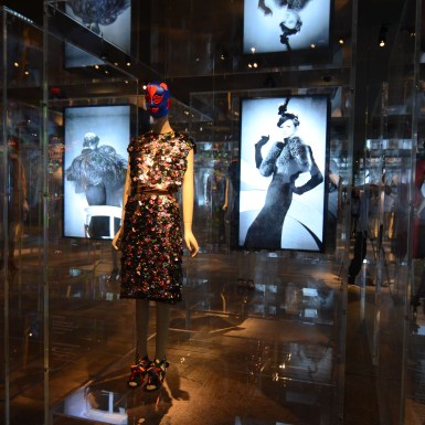 Prada-Schiaparelli Met Museum Costume multimedia screens
