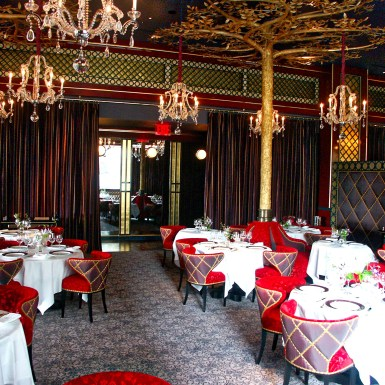 """Jean Georges """"V"""" interior with partition and curtains Time Warner Center"""