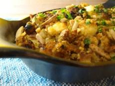 Cornbread, Fruit, Almond, Olive, Stuffing https://bigsislittledish.wordpress.com/2011/11/17/cornbread-fruit-almond-and-olive-stuffing-gluten-free/