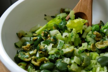 Crushed Olive Salad with Celery and Mint https://bigsislittledish.wordpress.com/2013/04/17/crushed-green-olive-salad-with-celery-and-mint/