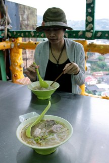 Taro and noodle soup.