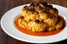 Whole Brined and Roasted Cauliflower with Romesco Sauce https://bigsislittledish.wordpress.com/2014/10/11/whole-roasted-cauliflower-with-romanesco-sauce-romanesco-sauce-with-everything/