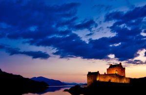 Castle at night. Scotland by campervan in 3 days