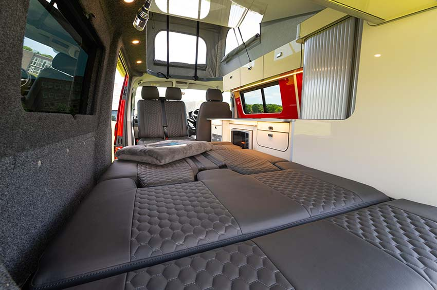 VW campervan hire Edinburgh bed area