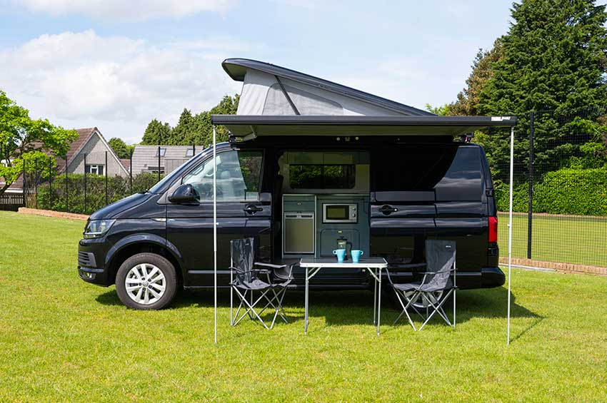 VW Transporter hire Scotland black camper