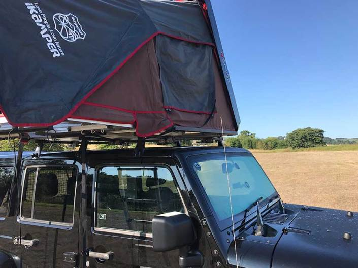 Jeep Wrangler roof tent campervans for hire in Scotland