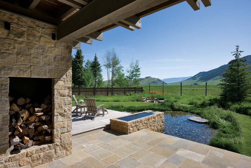 Haworth's home also includes a variety of outdoor living spaces, this one looking out toward the National Elk Refuge.