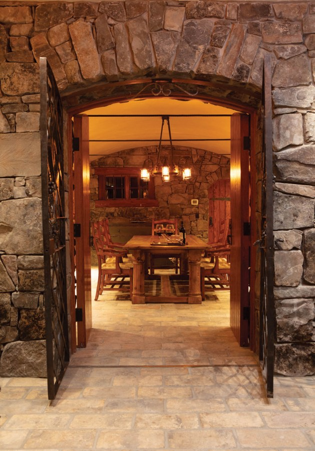 The home's wine cellar offers Old-World elegance in a comfortable environment.