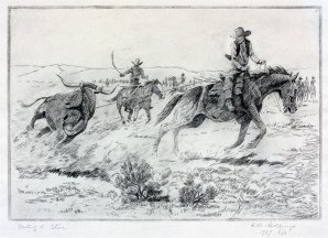 "Busting a Steer | etching | 8.75"" X 12.75"" Image courtesy of Meadowlark Gallery"