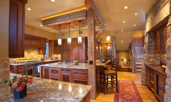 The reclaimed timbers in the kitchen and throughout the home came from Anaconda and add both texture and a real sense of history.