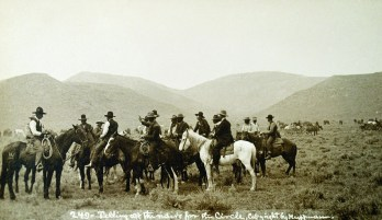 Telling Off the Riders for the Circle, real-photo postcard, L. A. Huffman photographer. • Gene and Bev Allen Collection.