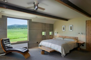 Maintaining a neutral palette of materials throughout the project emphasized the serene modern design in the master bedroom.