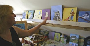 Artist Kelly Apgar in her studio in Somers, Montana.