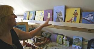 Artist Kelly Apgar in her studio in Somers, Montana.