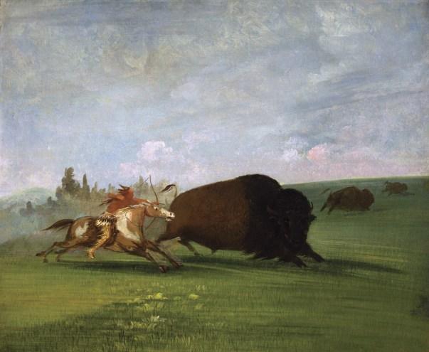 """Buffalo Chase, a Single Death"" | Oil on Canvas | 1832 -1833"