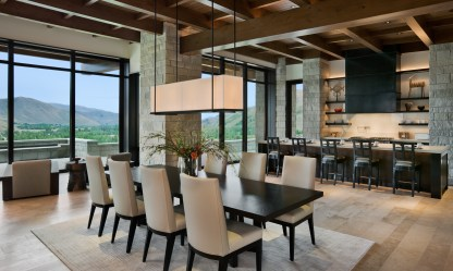 Counter seating allows for companionship or collaboration in the kitchen. The dining area's easy proximity to the kitchen or to the terrace encourages interaction between guests, good food, and nature.