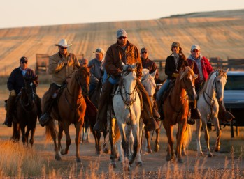 """""""The field"""" of handlers, owners, judges, and spectators upon gaited horses rides to the lines for the first brace of the morning."""