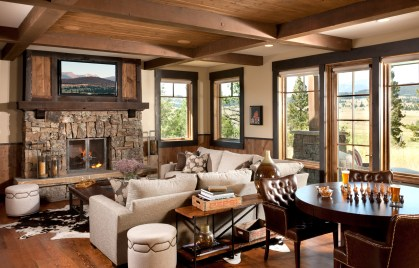 Throughout the home, timberframe construction is paired with elements of contemporary design.