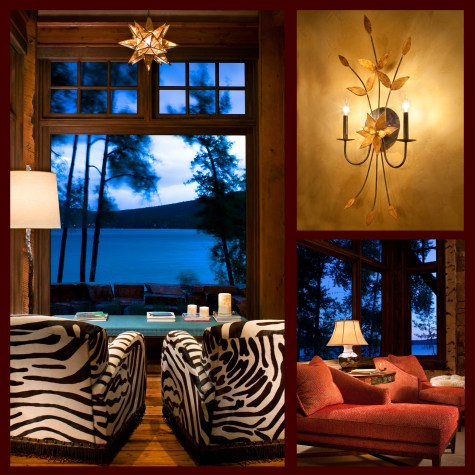 Left: For a playful departure, interior designer Hunter Dominick added matching chairs overlooking Whitefish Lake to create a private seating area off the great room. • Top Right: A delicate custom light fixture adds interest to the home's decor. • Bottom Right: Matching chaise longues in the master suite reinforce the sense