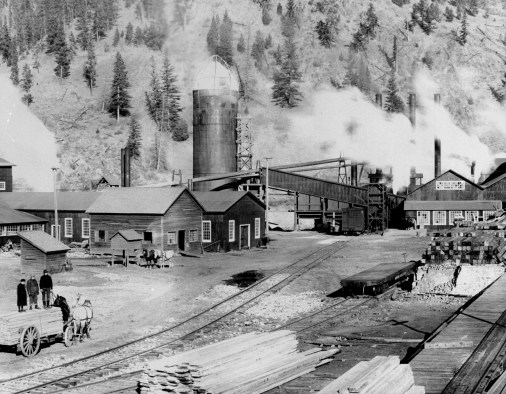 Company town: The Old Bonner Mill was founded in 1885 in the Blackfoot Valley and remains in production again as of 2011. Photo from University of Montana Maureen and Mike Mansfield Library