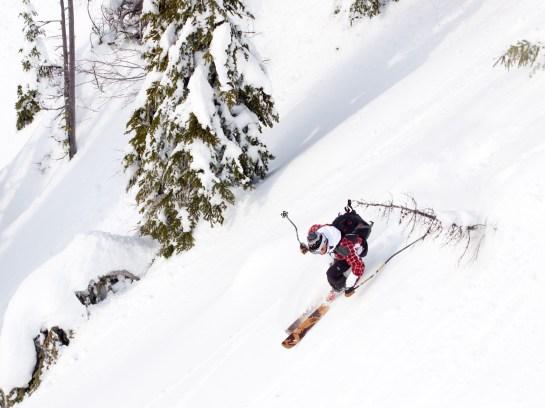 Zak Anderson skis on Montana Ski Company's Skookoleel skis on Skook Chutes in the Whitefish backcountry near Whitefish Mountain Resort.