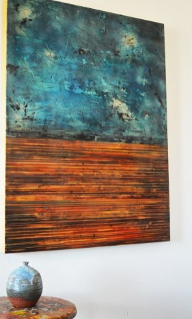 """The painting """"Three-Fold Sky"""" is based on a small ceramic pot given to Moore by her mother."""