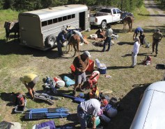 A team of pack mules will do the heavy lifting of rafts, food and supplies for four nights in the wilderness.