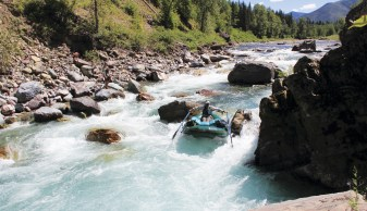 Marc Evans navigates the tricky whitewater of Spruce Park Gorge on the final day in the wilderness.