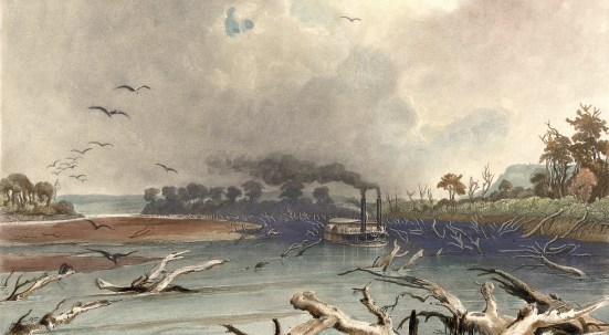 """Art by Karl Bodmer (1809-1893), entitled """"Snags (Sunken Trees) on the Missouri."""" A steamboat works its way through sunken trees on the river. Karl Bodmer's illustrations to Prince Maximillian of Wied-Neuwied's """"Travels in the Interior of North America,"""" 1832-34. Maximilian commissioned Bodmer to create illustrations to accompany the text of his atlas documenting their travels. These illustrations include 81 plates of hand-colored aquatints."""