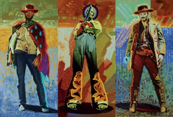 """Neon Gunslingers""   Michael Blessing   Oil Triptych   48"" x 72"""