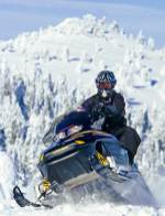 Snowmobiling near West Yellowstone. Photo by Chuck Haney