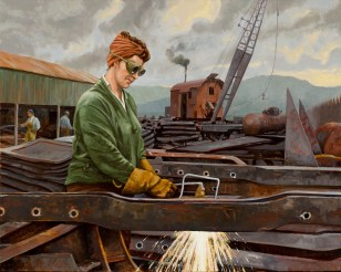 """""""Cutting Steel in the Yard""""   Oil on Canvas   32 X 40 inches"""