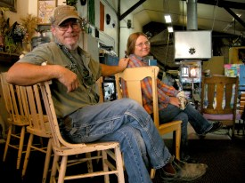 Jim and Terry Gundersen in the Goose Bay Glass studio in Townsend, Montana, the only dedicated hot shop and glass gallery in Montana.
