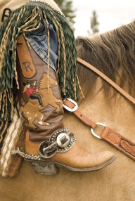 Texan Dee Dee Trichter sports custom cowgirl boots.