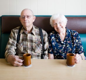 American Gothic: Sweethearts Shirley Denesen and Wesley Bull of Livingston enjoy conversation and a hot cup of coffee.