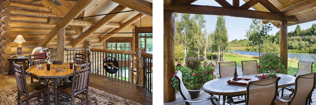 Left: Overlooking the great room, this lofted sitting area is a favorite place to relax and read or play games. Right: During the summer, the outdoor dining area and kitchen — a built-in gas grill is hiding around the corner — are used almost as much