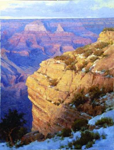 """""""First Snow on the South Rim""""   Oil on Linen   40"""" x 30"""""""