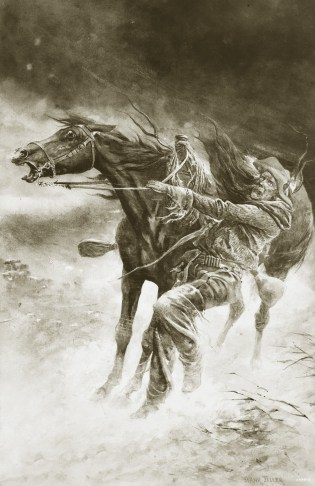 In a Blizzard, painted by Frank Feller, circa 1900. During the Great Die-Up, thousands of dead cattle clogged rivers, piled up against fences, and filled coulees, and the stink of death hung over the region for months. Many cowboys, in vain attempts to sa