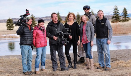 "The camera crew and cast on the ""set"" of a recent episode filmed near Livingston. Left to right: Dan Dvorak, Tracy Wohlgenant, Dean Eastman, Dana Ventling Lich (cast), Annie Burns (cast), James Tobin, Greg Burns (cast)"