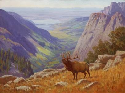 """Autumn Elk""   Oil on Linen   30"" x 40""   Emigrant Peak, Montana"