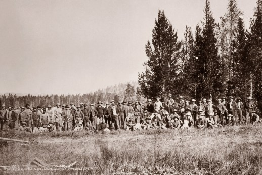 Hayden Geological Survey Expedition members at Firehole Basin; both photos by William H. Jackson; 1872. NPS photos